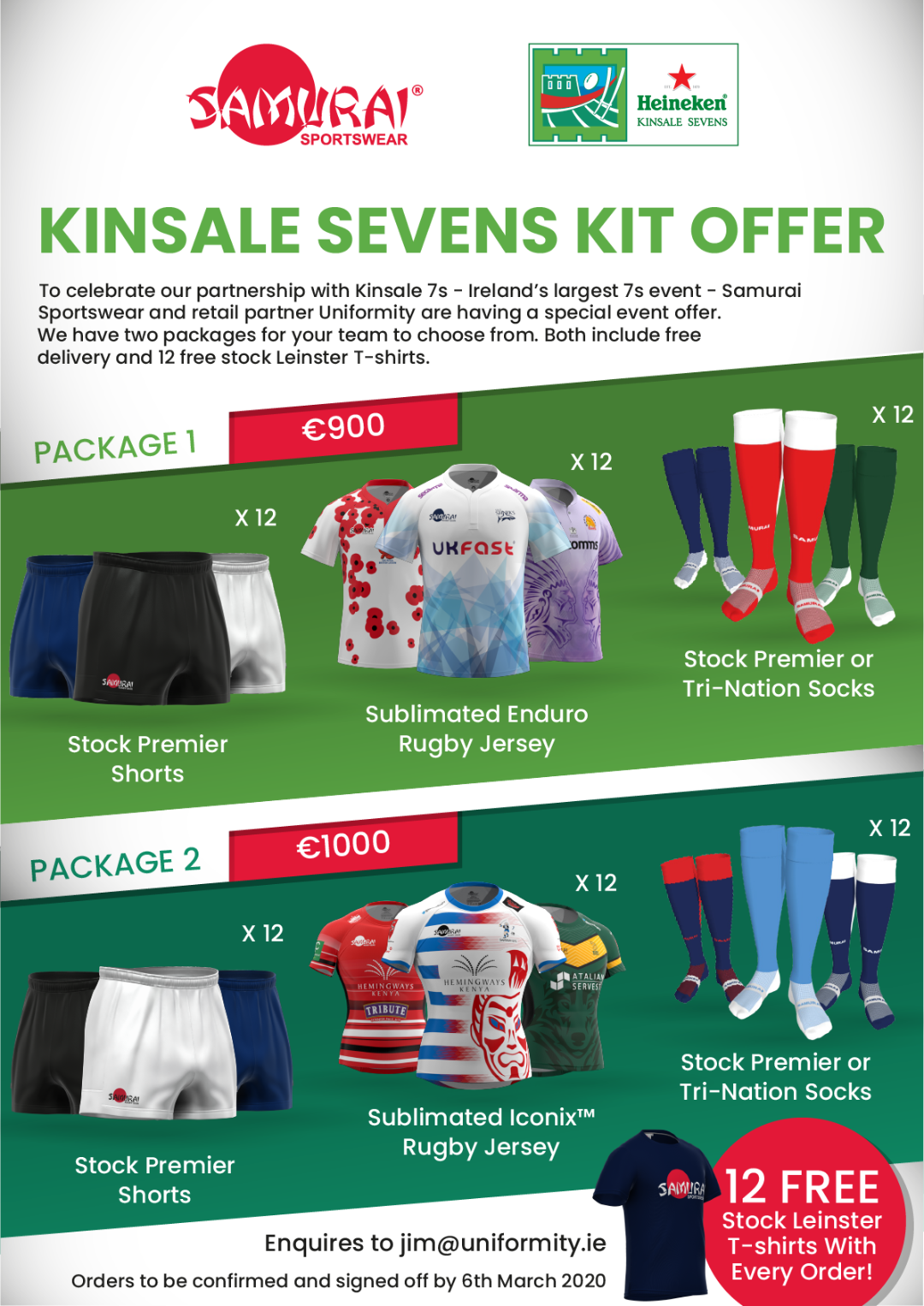 Kinsale Sevens Kit Offer